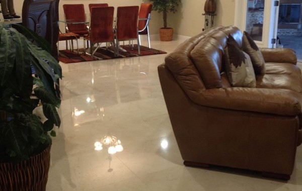 Polished marble living room floor