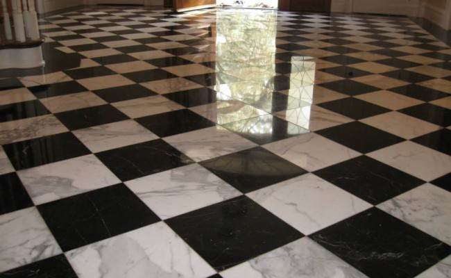 checkerboard marble floor polished