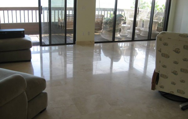 Natural stone floor repolished