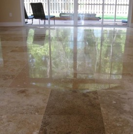 Refinished travertine floor
