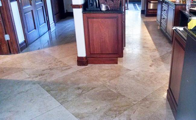 Travertine Kitchen Floor Restored