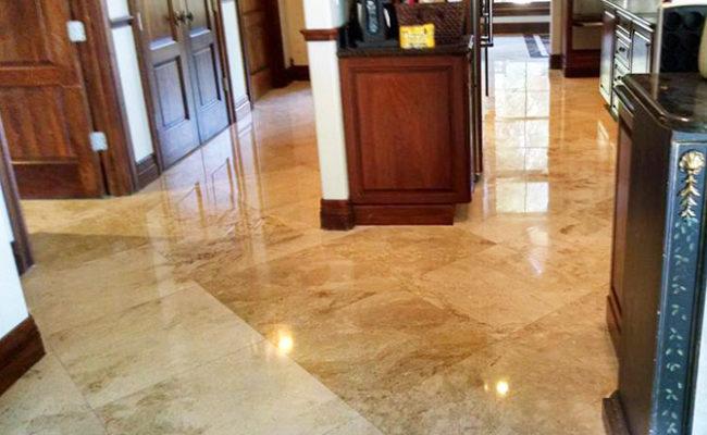 Travertine Kitchen Floor Rejuvenated